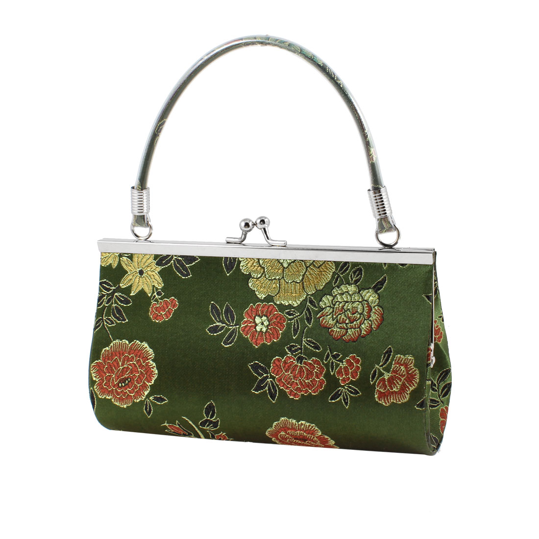 Woman Nylon Lining Elegant Red Green Embroidery Floral Print Army Green Handbag