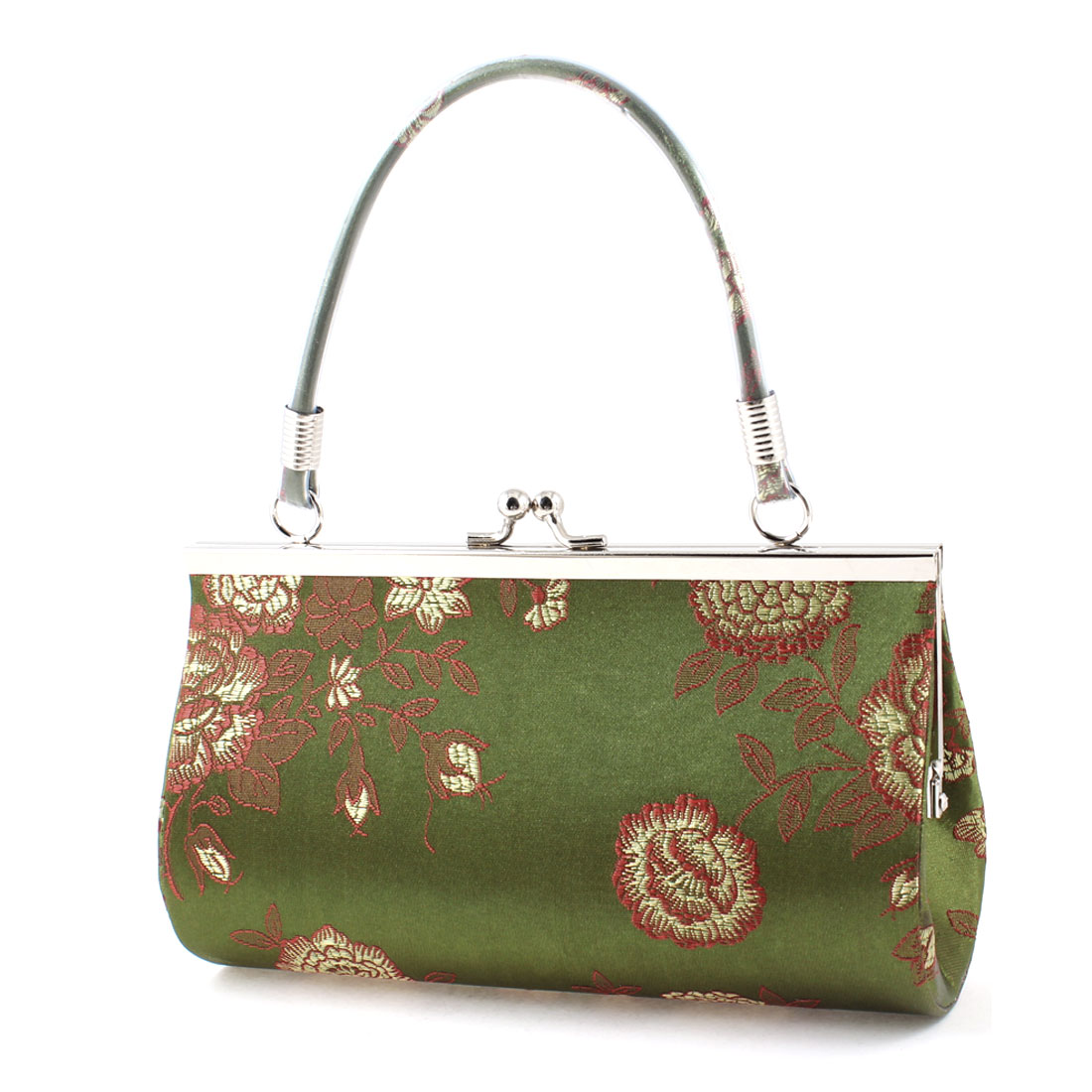 Women Embroidery Red Flowers Pattern Kisslock Clasp Army Green Evening Handbag