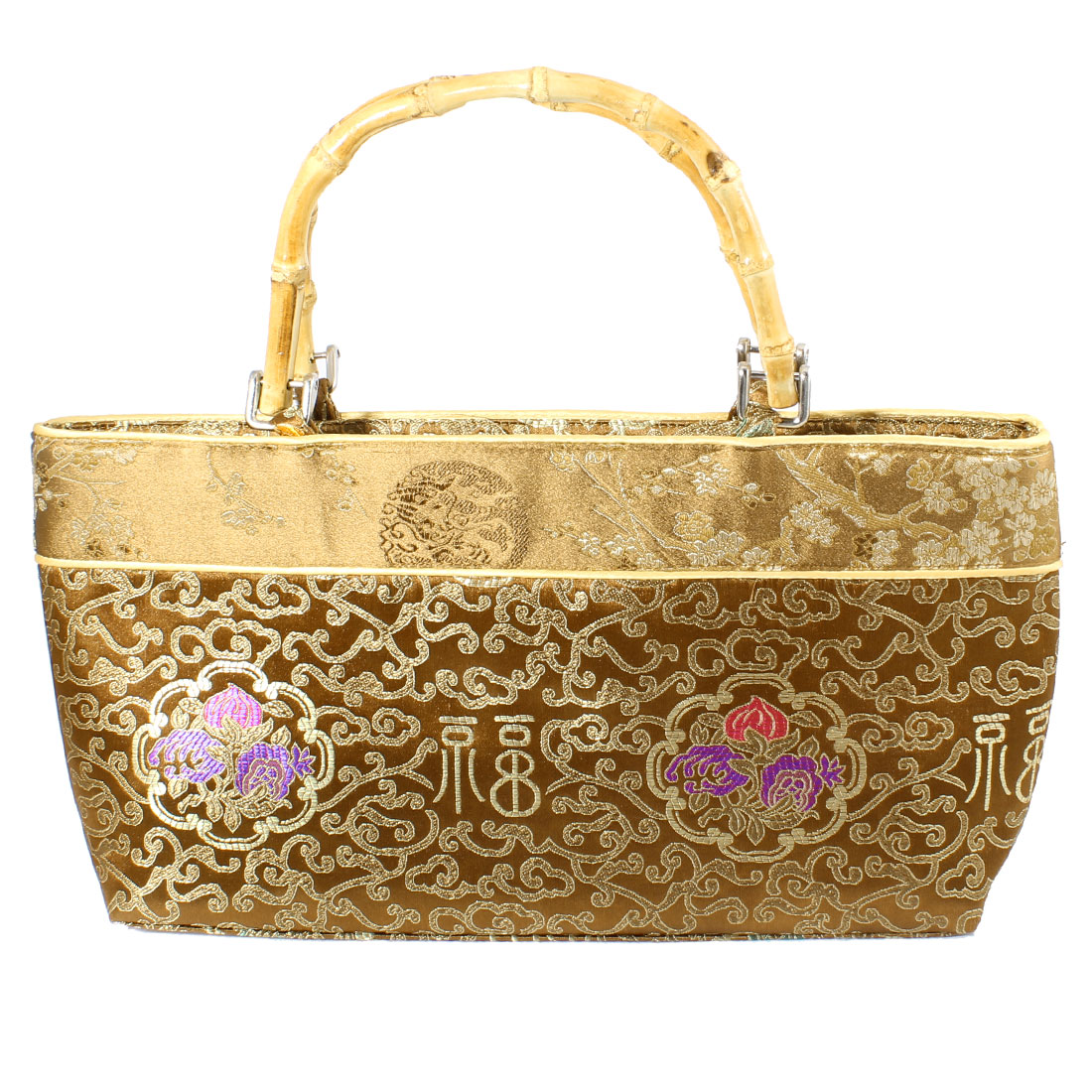 Chinese Embroider Auspicious Clouds Print Pouch Handbag Beige Brown for Ladies