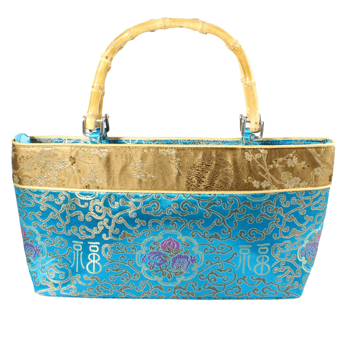 Women 36cm x 17cm x 7.5cm Bamboo Handle Embroider Fu Print Teal Blue Handbag