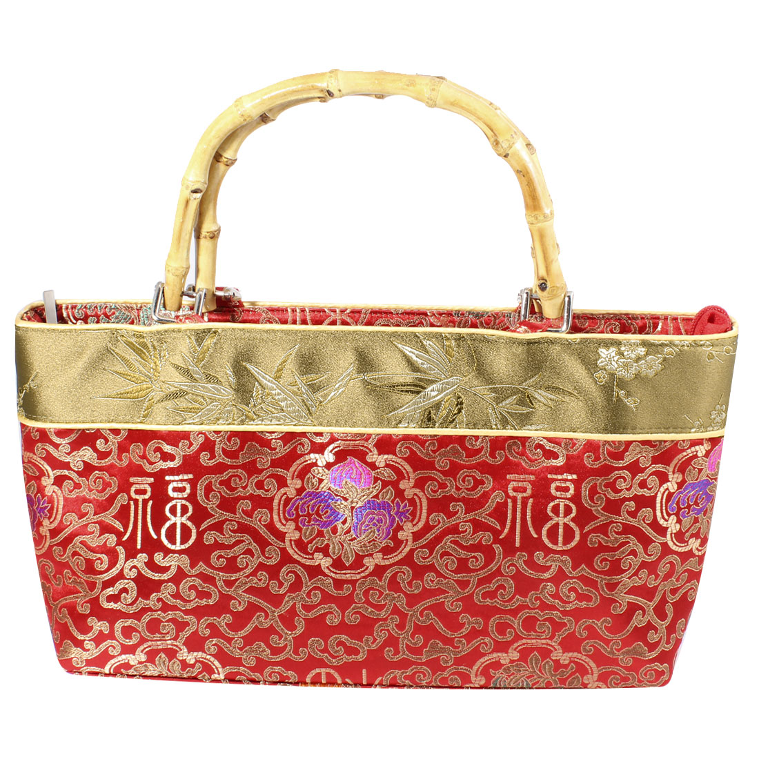 Chinese Embroider Auspicious Clouds Print Pouch Handbag Red Beige for Ladies