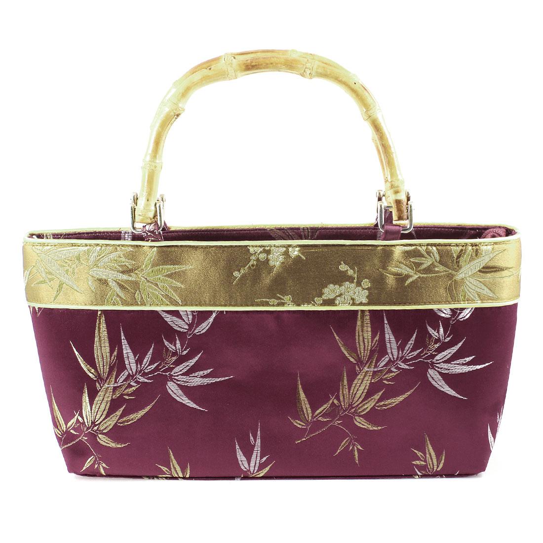 Woman Nylon Lining Zip Up Embroider Bamboo Leaf Print Burgundy Handbag