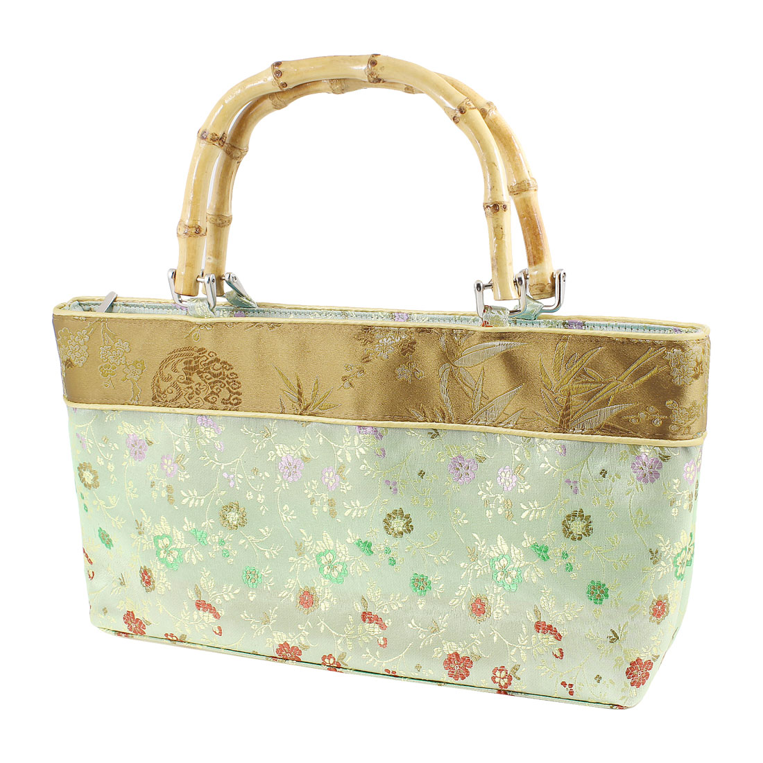Women Portable Bamboo Handle Brown Embroider Plum Blossom Print Handbag