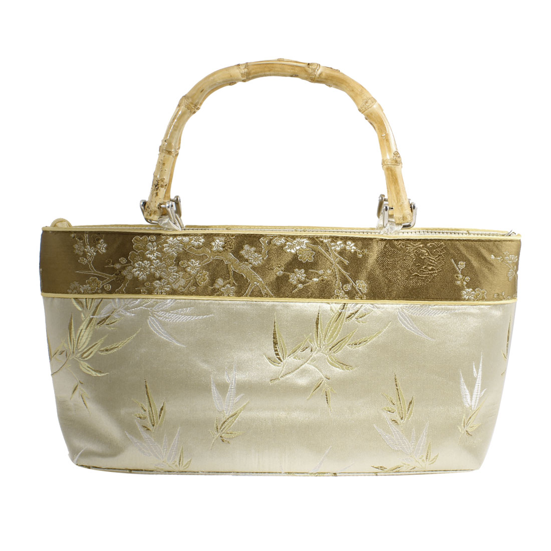 Chinese Beige Brown Embroider Bamboo Pattern Pouch Handbag for Ladies