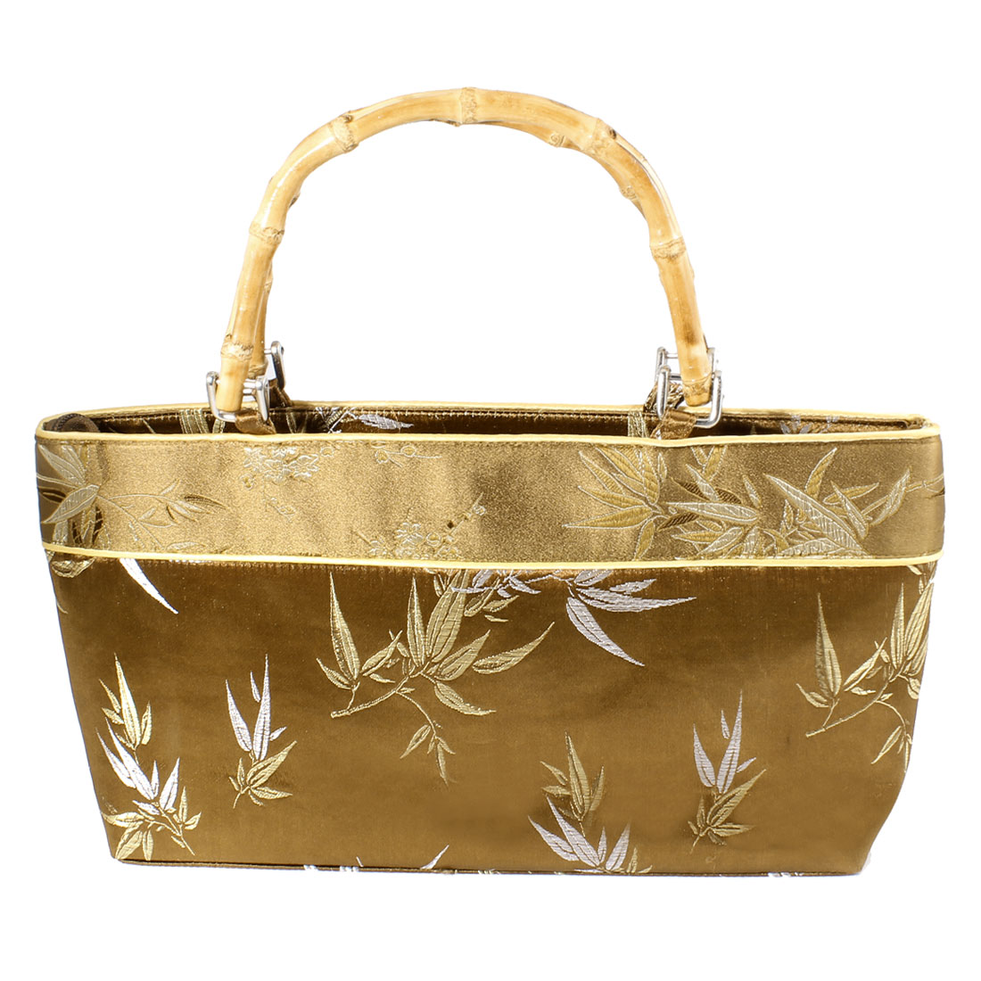 Women Elegant Beige Bamboo Handle Brown Embroider Plum Blossom Print Handbag