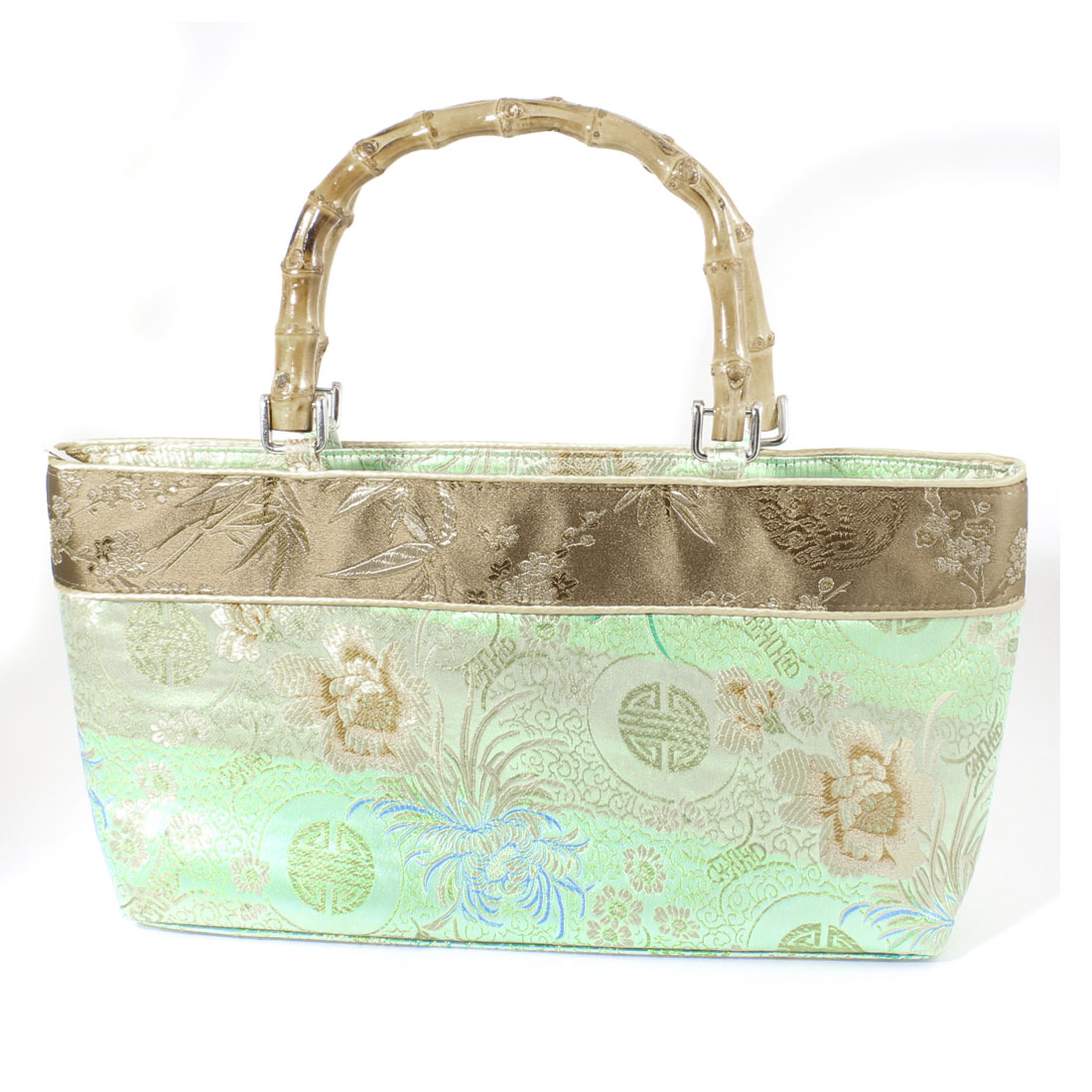 Bamboo Handle Embroider Chrysanthemum Printed Handbag Elegant Green for Women