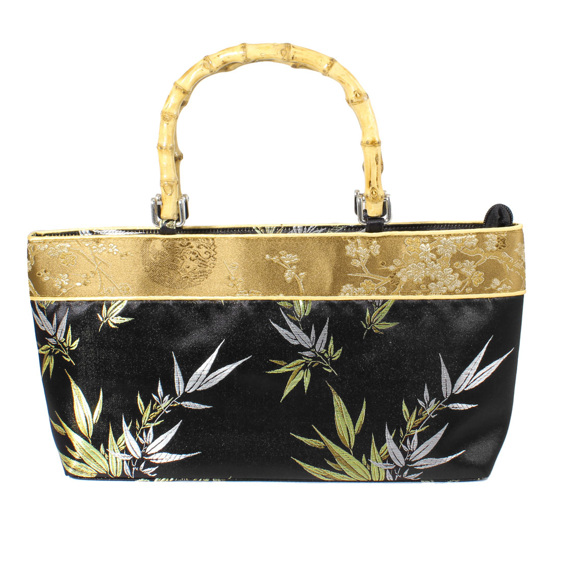 Women Elegant Bamboo Handle Beige Embroidery Plum Blossom Print Handbag