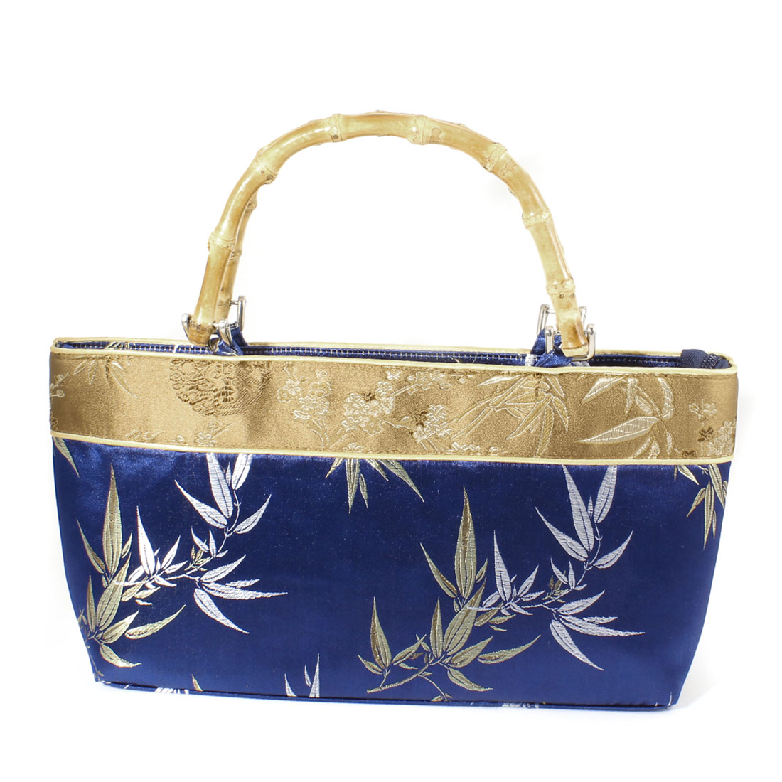 Chinese Embroider Bamboo Pattern Pouch Handbag Royal Blue for Ladies