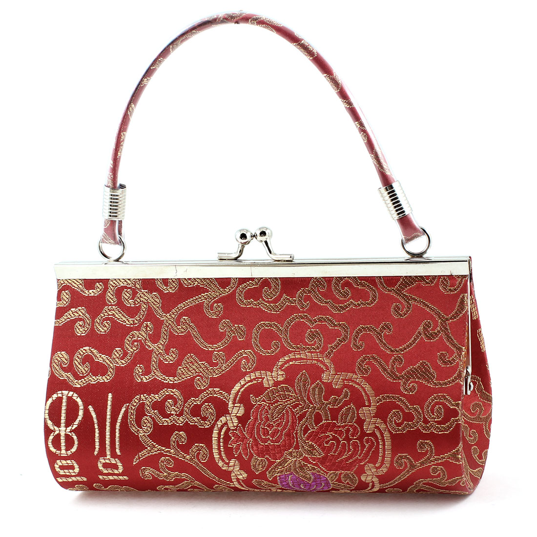 Chinese Embroider Peach Pattern Metal Kisslock Clasp Red Handbag for Women