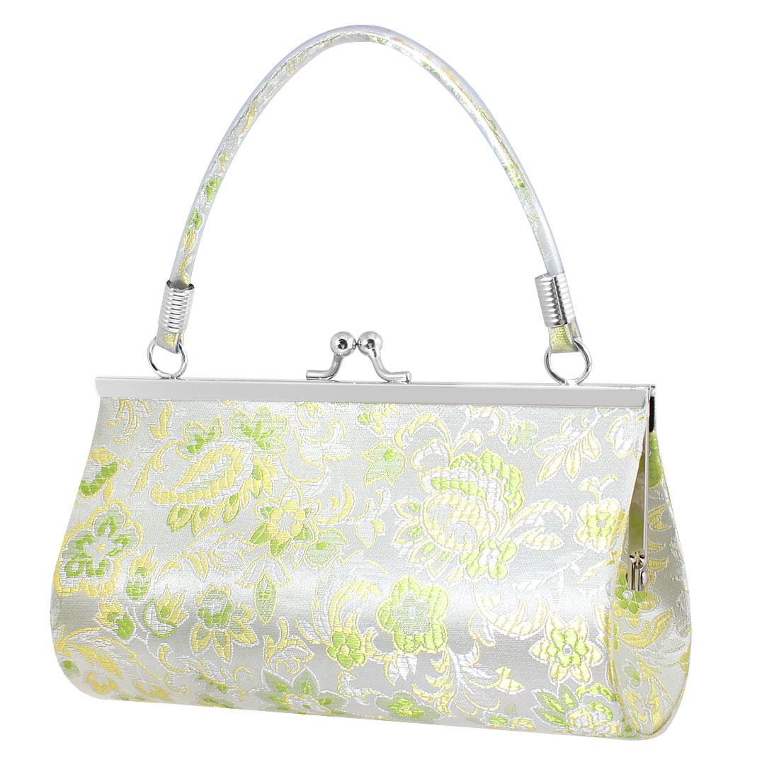 Women Chinese Embroidery Lime Flowers Pattern Kisslock Clasp Evening Handbag