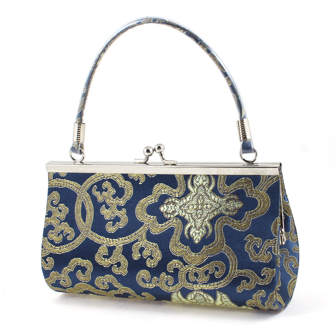 Ladies Embroider Chinese Gold Tone Flower Purse Pouch Evening Handbag Royal Blue