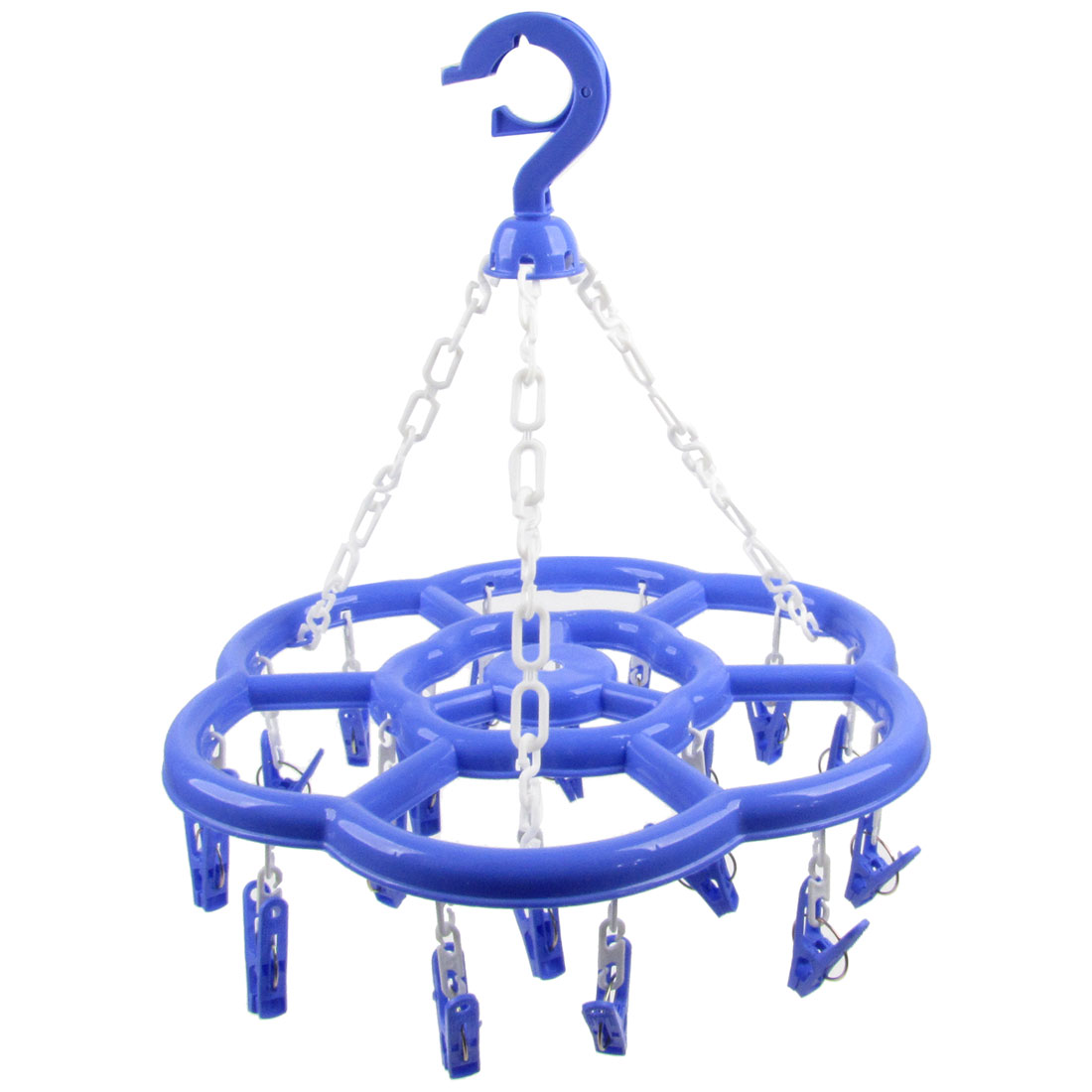 Swivel Hook Blue Plastic Flower Frame 18 Pegs Drying Rack Clotheshorse Hanger