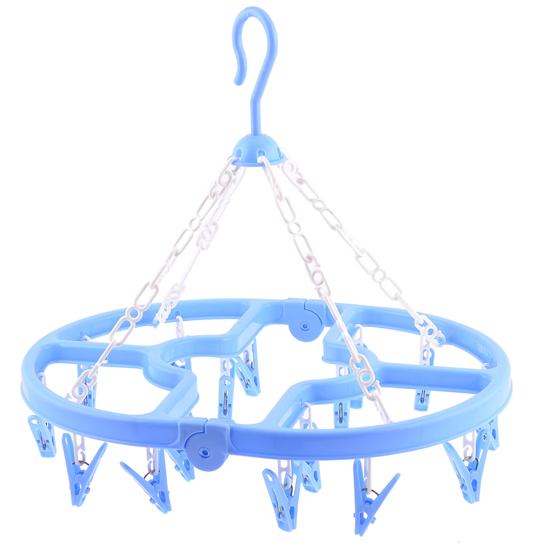 Household Folding Blue Plastic 16 Pegs Oval Frame Airing Clips Clamps Hanger