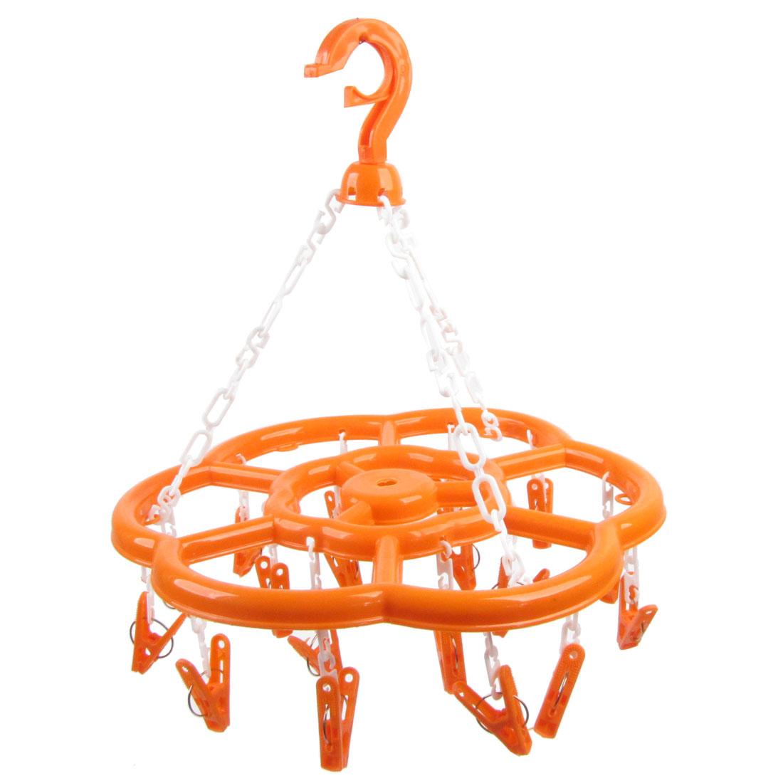 "13.6"" Dia Orange Plastic 18 Cramp Pins Clips Plum Blossom Shaped Hanger Hook"