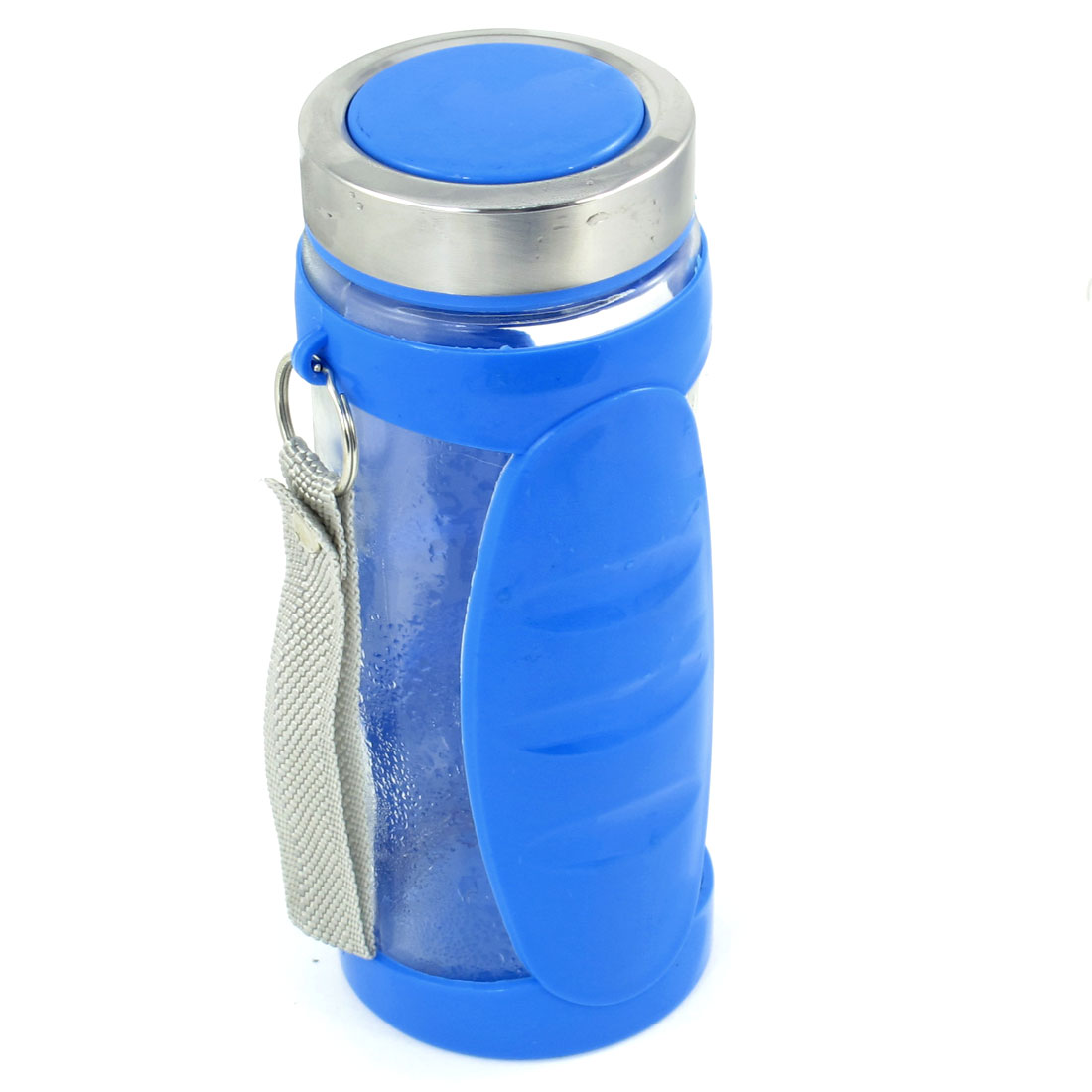 Portable Hand Strap Glass Plastic Tea Water Drink Bottle Cup Blue Clear 400ml