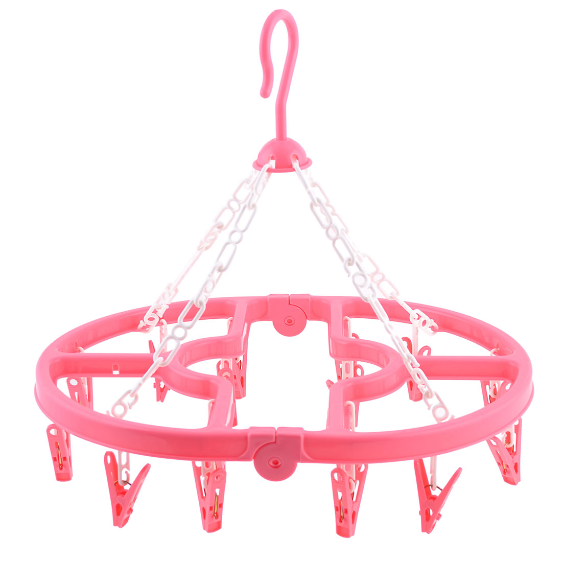 Household Folding Pink Plastic 16 Pegs Oval Frame Airing Clips Clamps Hanger