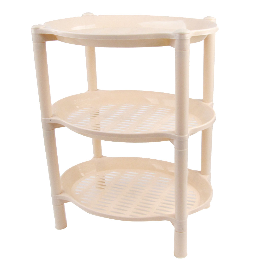 Household Ellipse Detachable Three Layer Pale Pink Plastic Shelves Storage Rack