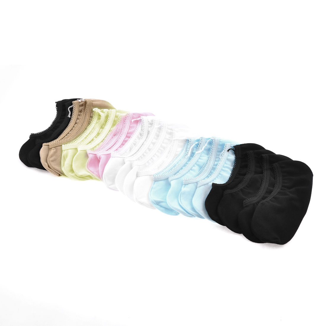 Girls 10 Pairs Assorted Color Elastic Boat Socks