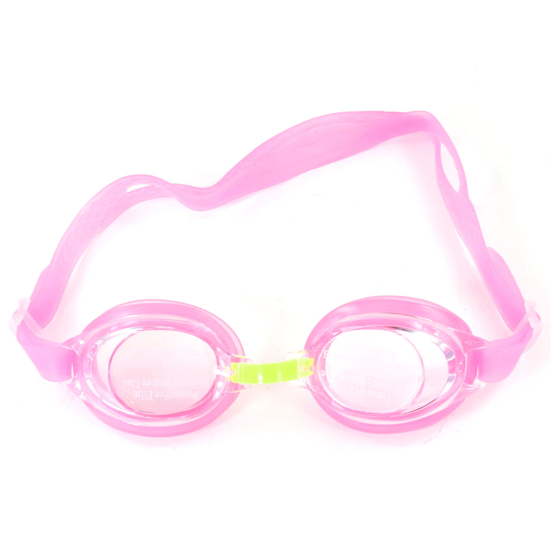 Child Elastic Strap Swimming Goggles Glasses Pink Clear w Bear Dangle Case