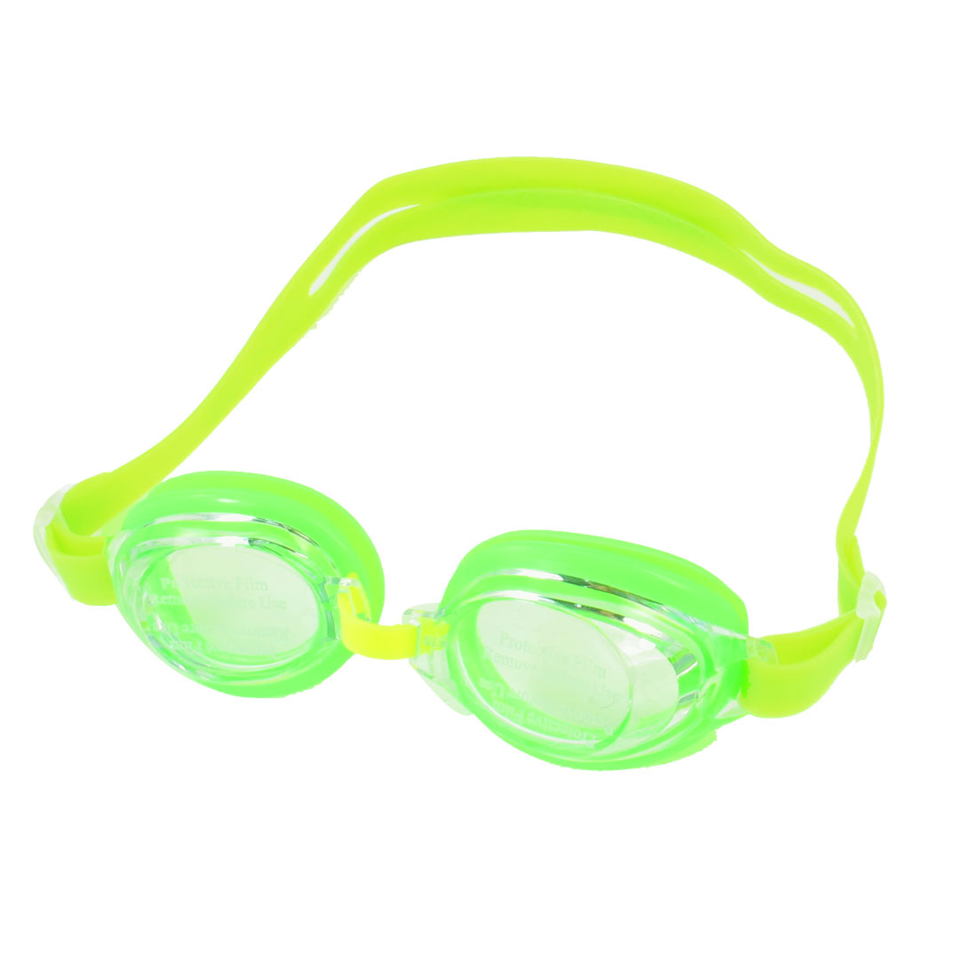 Child Clear Lens Bright Green Rubber Eyecups Stretchy Strap Swimming Goggles