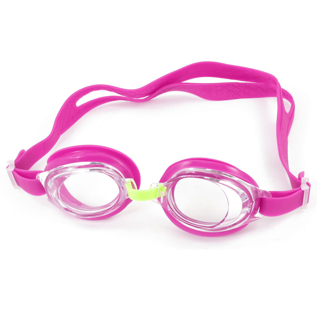 Child Clear Lens Fuchsia Rubber Eyecups Stretchy Strap Swim Swimming Goggles