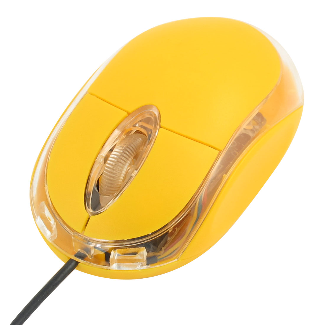 128cm Length Cable PC Desktop Computer USB 2.0 3D Optical Mouse Yellow Clear