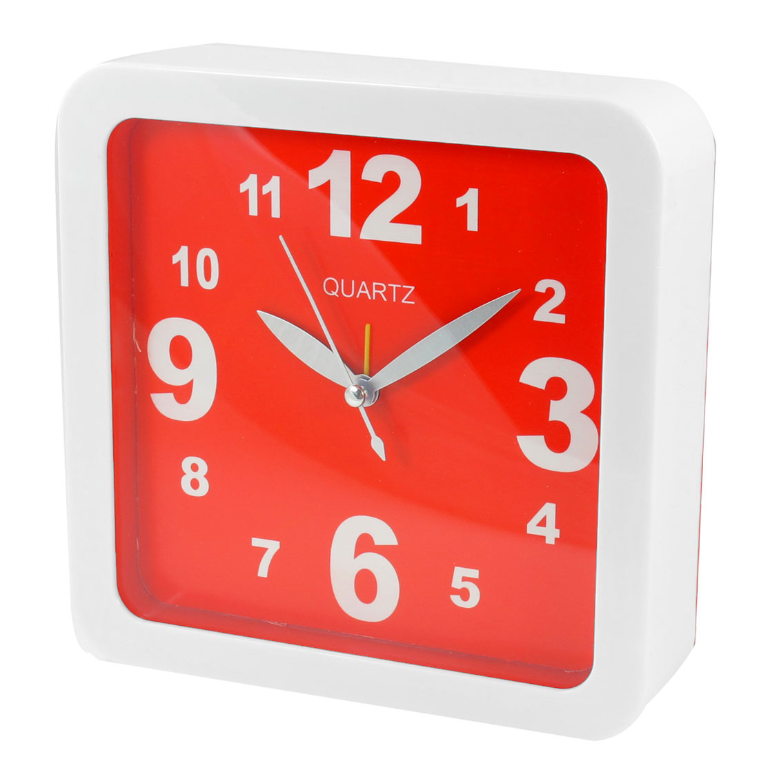 Home Office Red White Square Shaped Shell Wall Mounted Alarm Clock