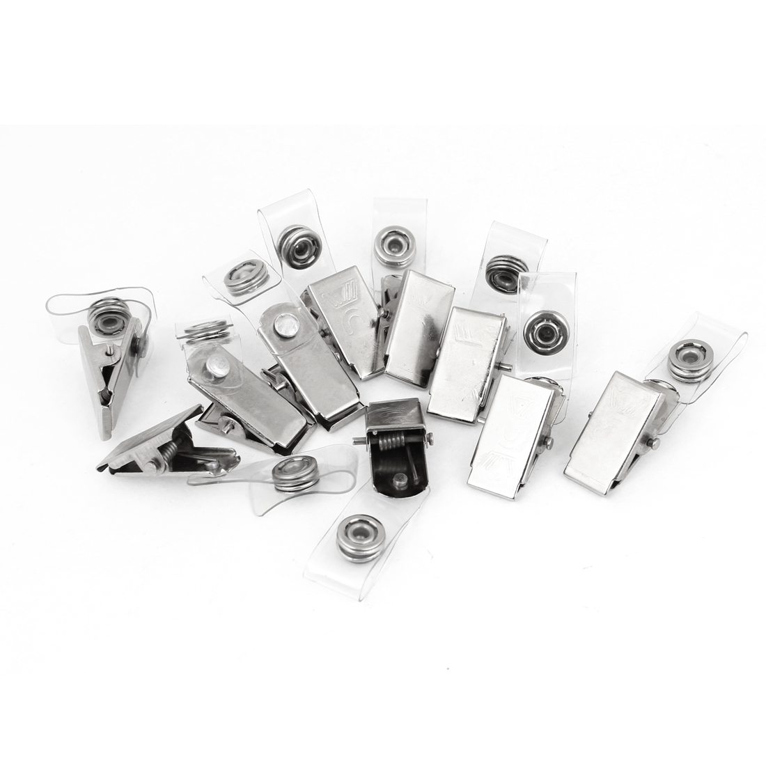 Office Family Silver Tone Metal Brand Card Clips 10 Pcs