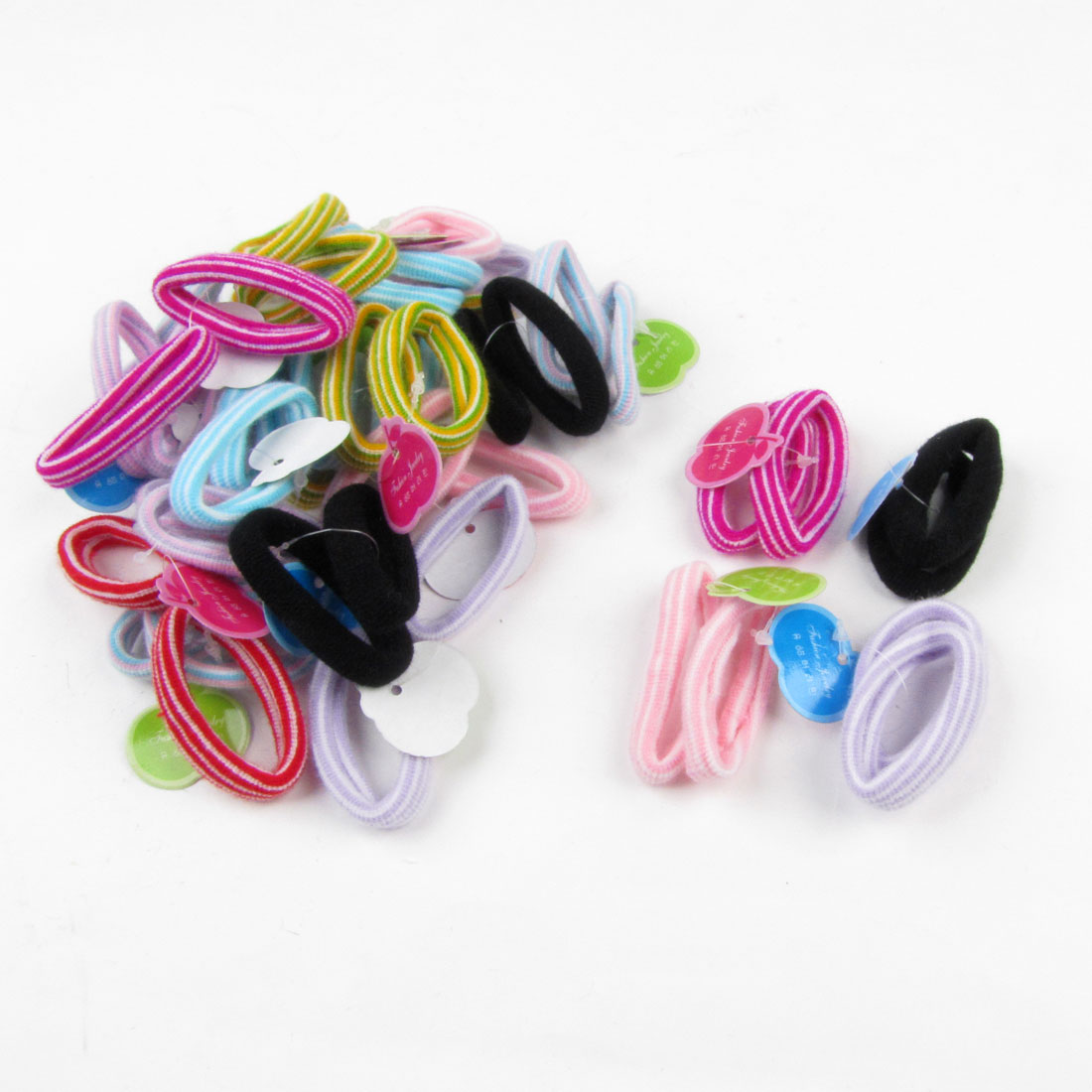 Lady Strip Pattern Nylon Wrapped Stretchy Ponytail Hair Bands 45pcs