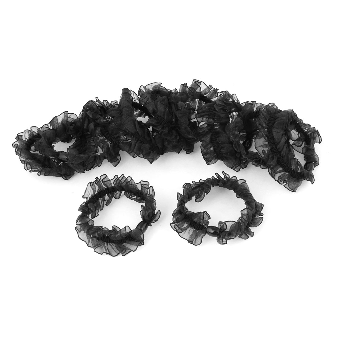 10 Pcs Black Edge Nylon Stretchy Hairband Hair Tie for Woman Lady