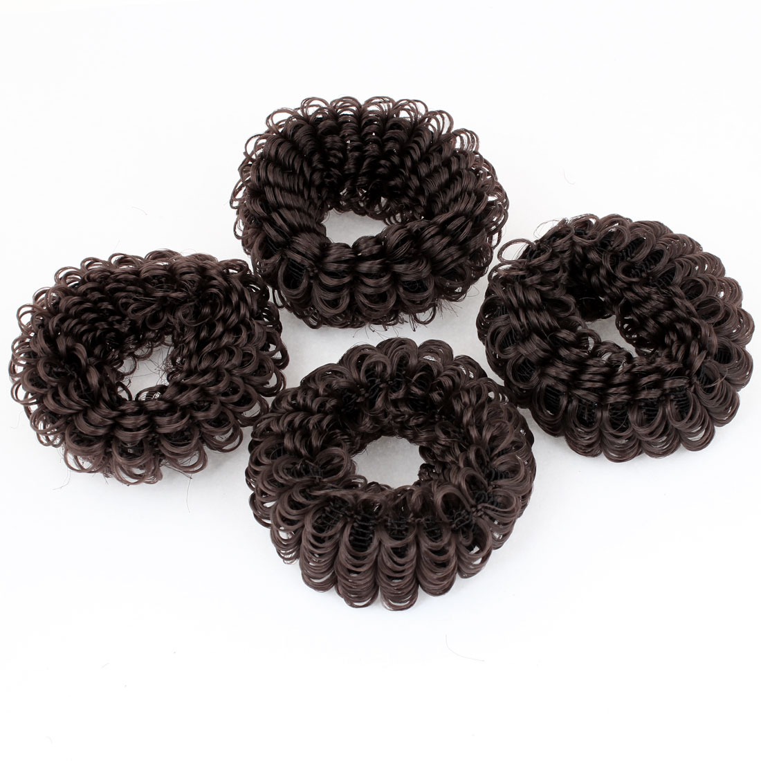 4 Pcs Coffee Color Elastic Curl Hair Styling Bun Wig for Lady