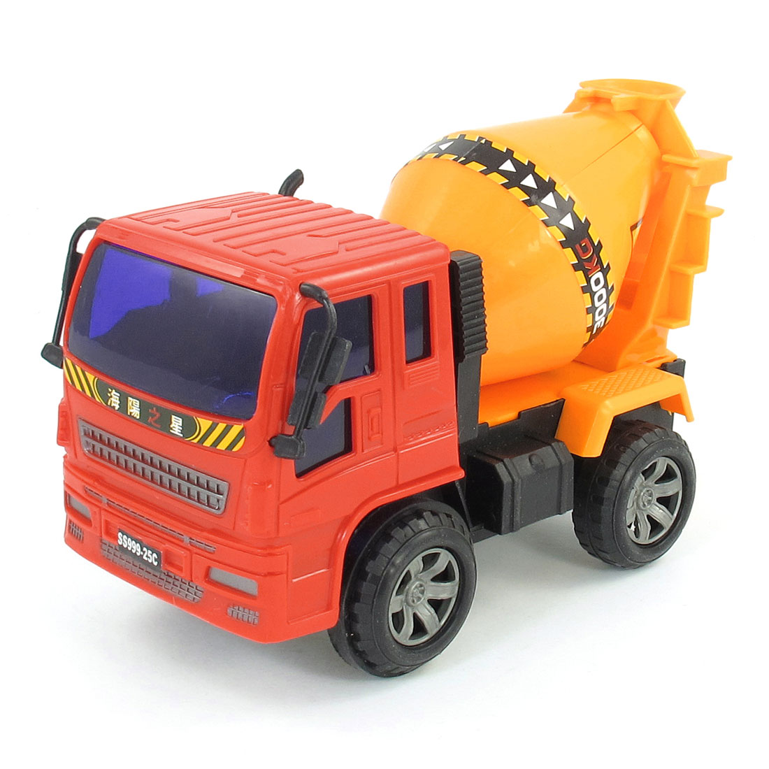 Kids Red Dark Yellow Plastic Engineering Cement Mixer Truck Model Toy