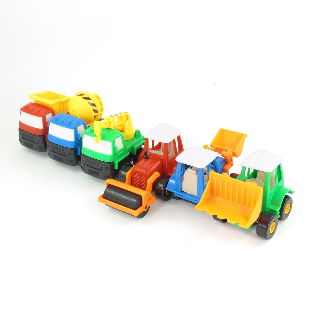 6 in 1 Child Green Orange Red Road Roller Hoist Crane Truck Car Model Toy Set