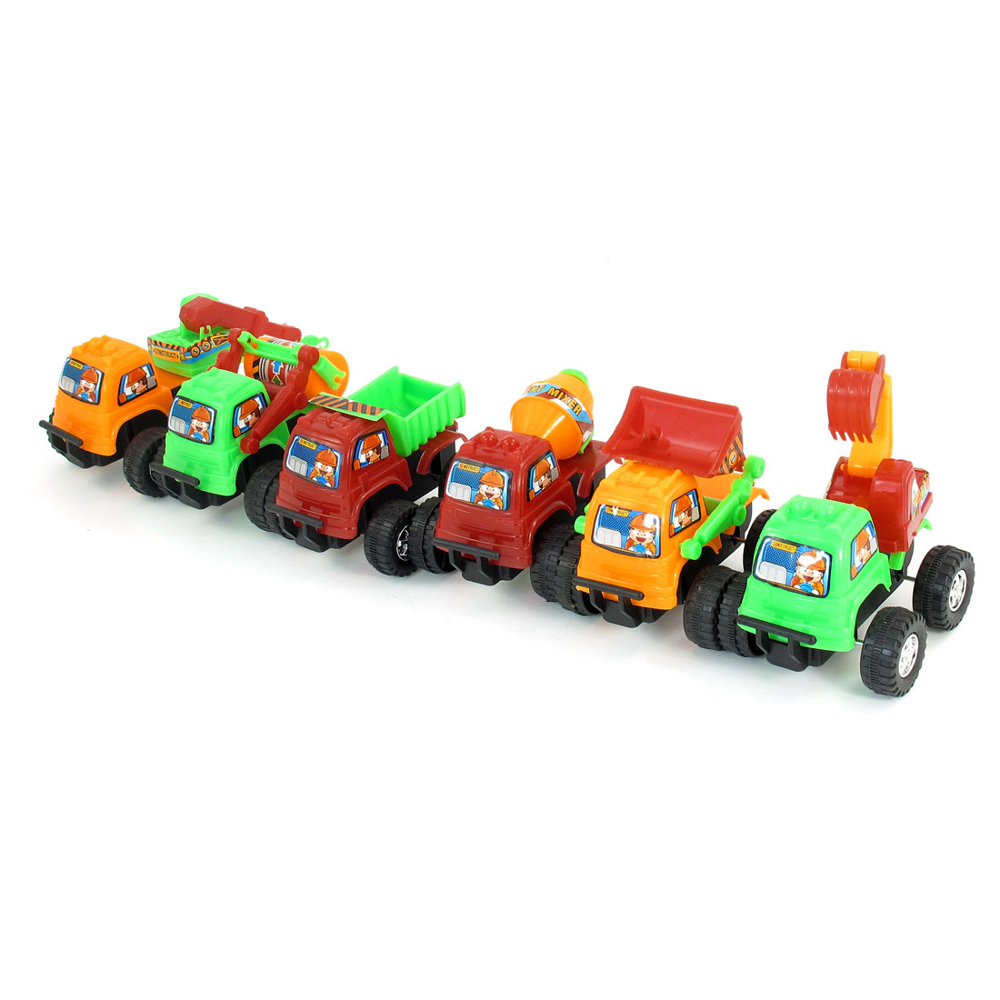 6 Pcs Green Red Orange Plastic Navvy Cement Mixer Truck Model Toy for Children