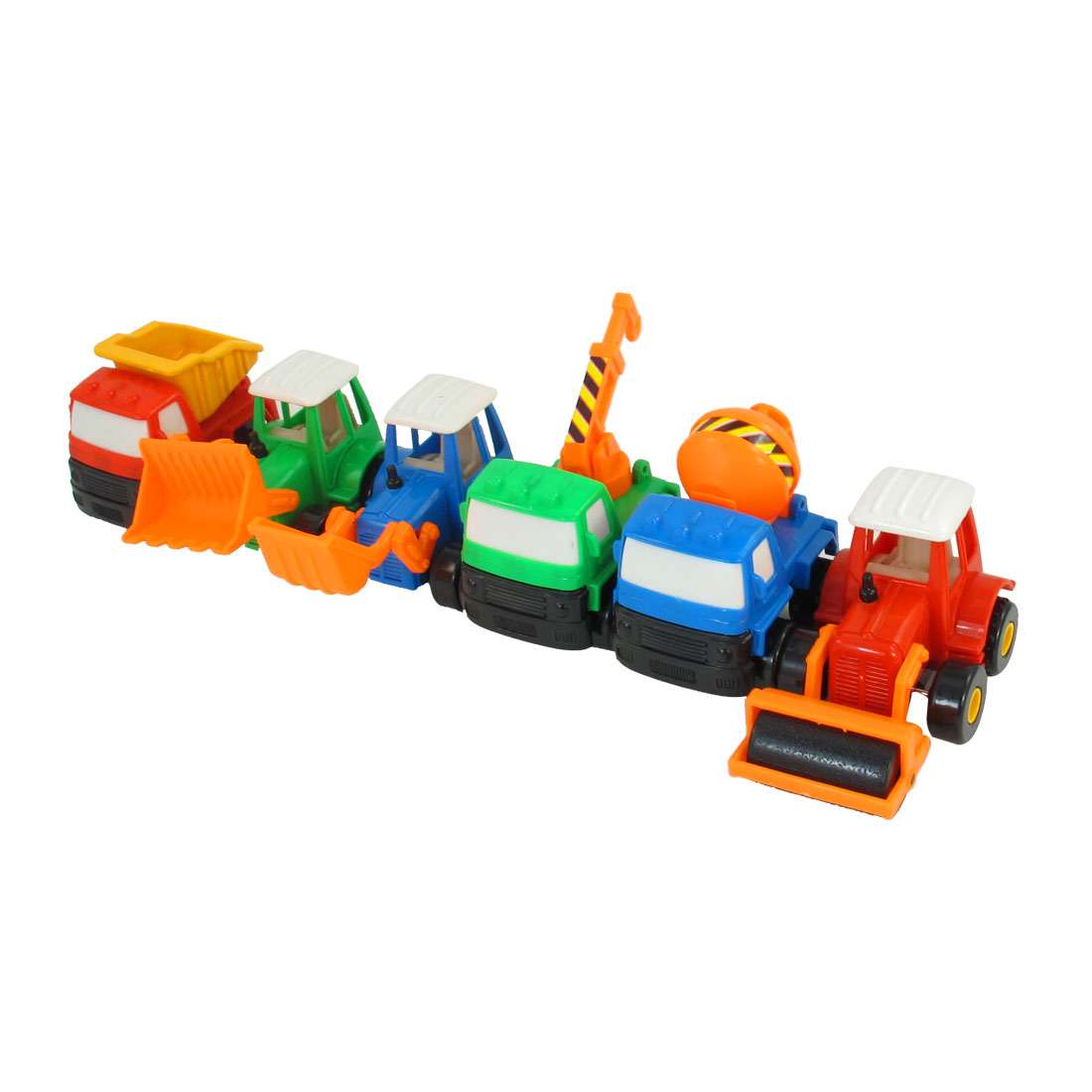 6 in 1 Child Green Orange Bulldozer Hoist Crane Truck Vehicle Car Model Set