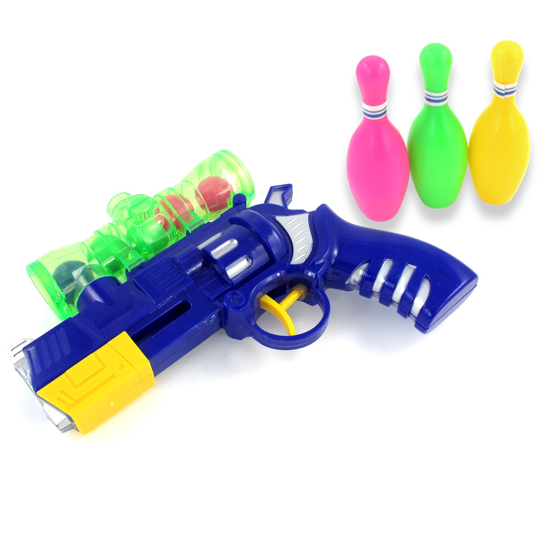 Children Blue Plastic Shooting Gun Toy + 3 Bowling Pin + 6 Balls