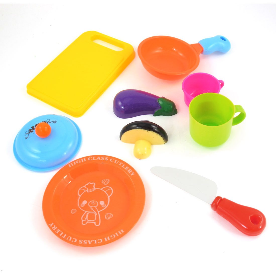 Children Orange Yellow Purple Plastic Plate Chopping Board Eggplant Model Toy