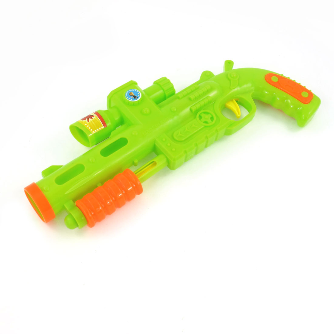 Children Green Plastic Shooting Gun Toy + 3 Bowling Pin + 6 Balls