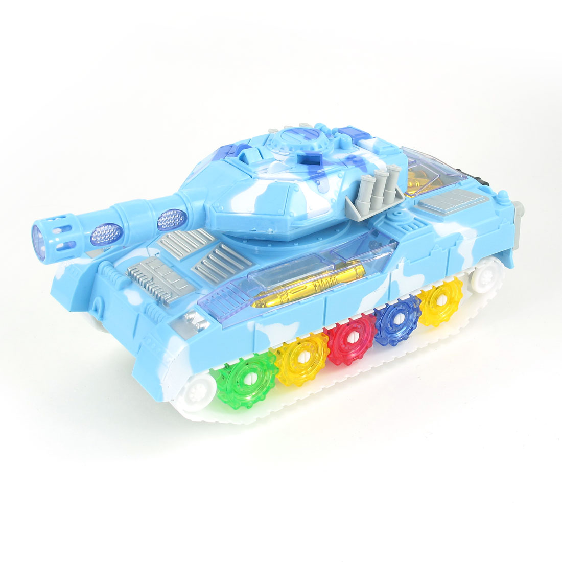 Light Blue Plastic Flashing LED Light Electric Panzer Tank Toy for Kids