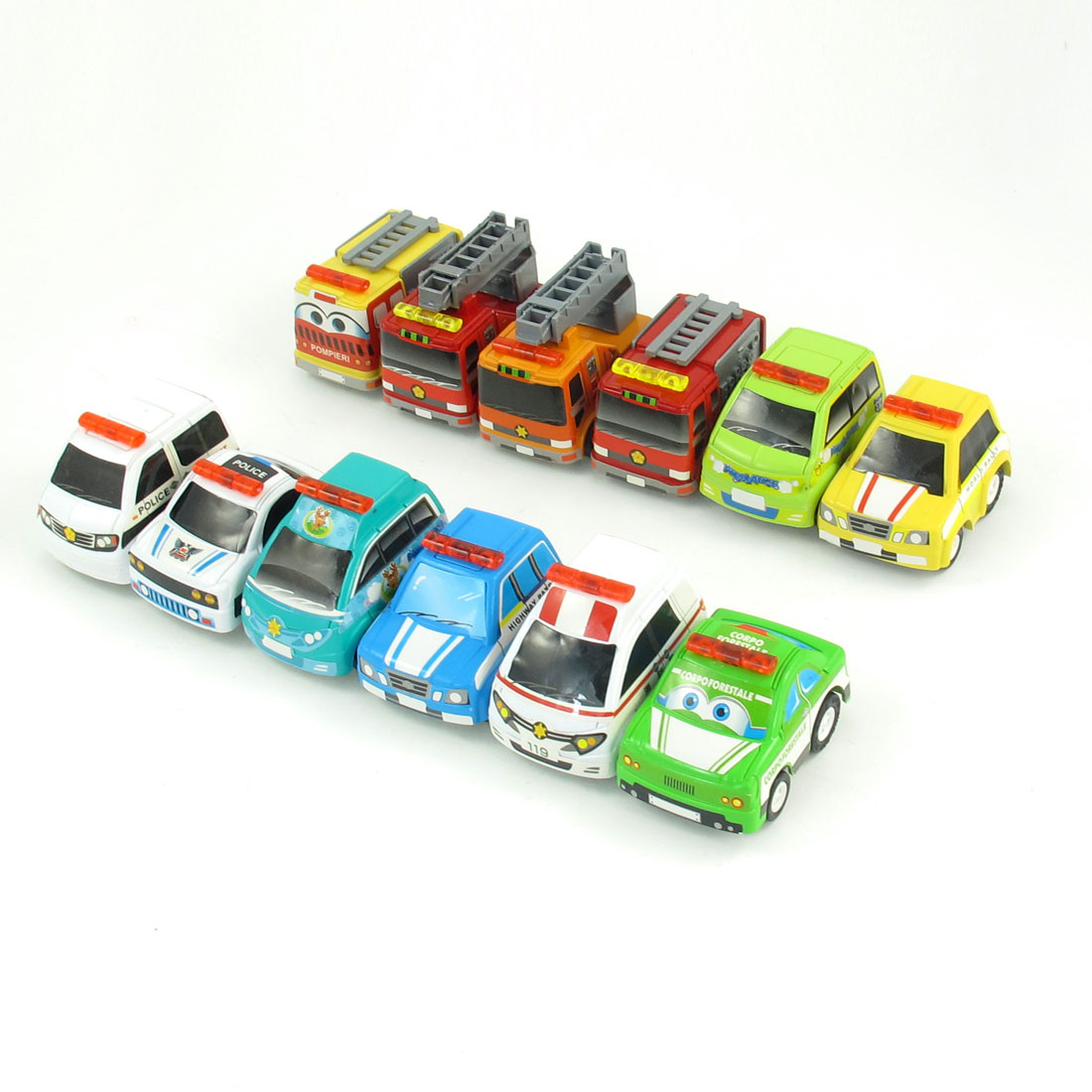 12 Pcs Assorted Colors Plastic Fire Engine Ambulance Police Car Toy for Kids