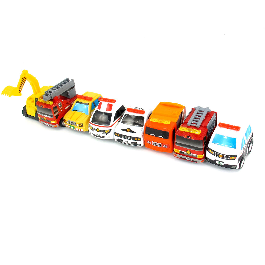 8 in 1 Child Yellow White Orange Hoist Crane Truck Police Car Model Toy Set