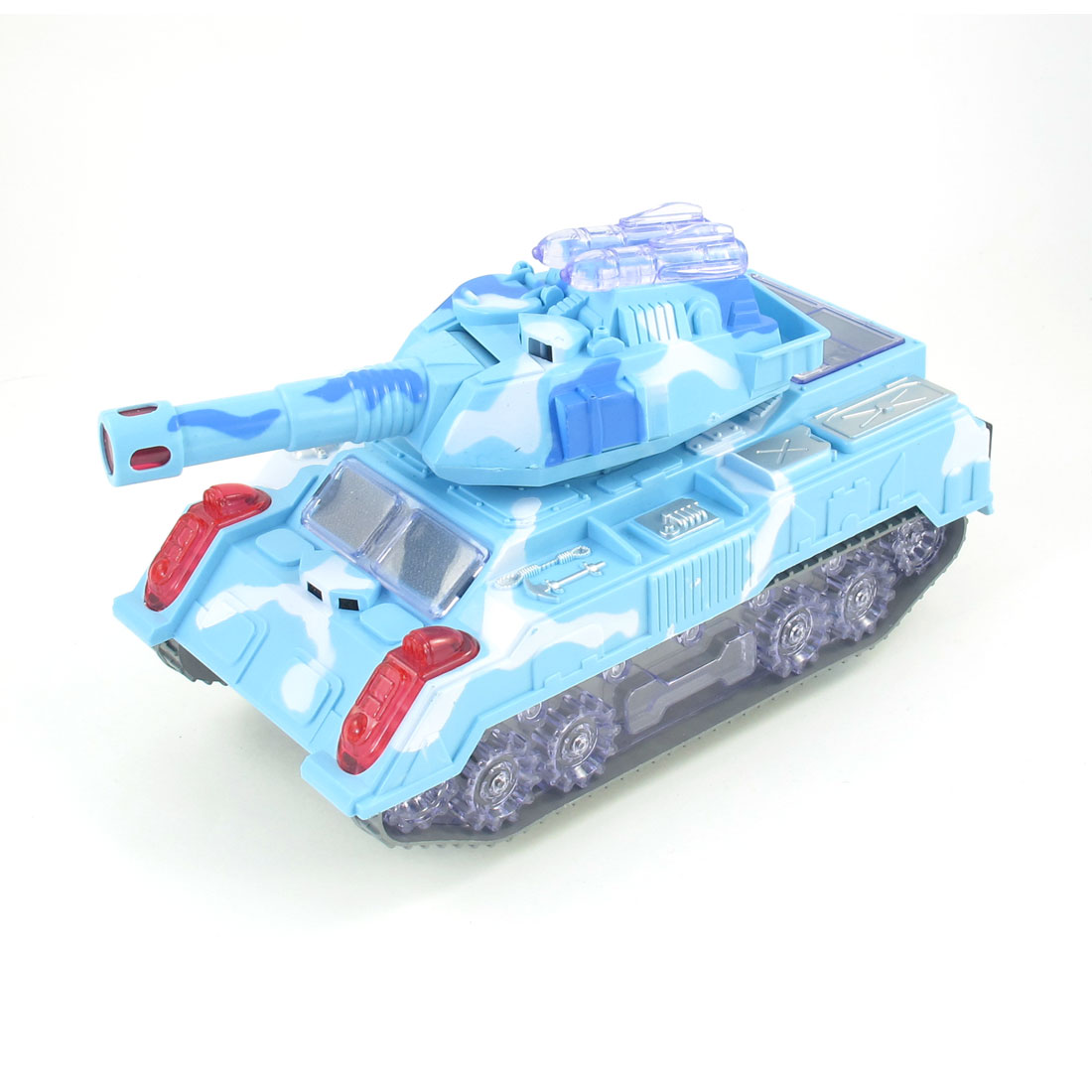 Light Blue Plastic Flashing LED Light Electric Panzer Tank Toy for Kid