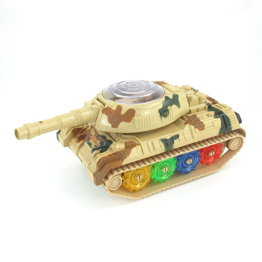 Beige Plastic Flashing LED Light Electric Panzer Tank Toy for Kids