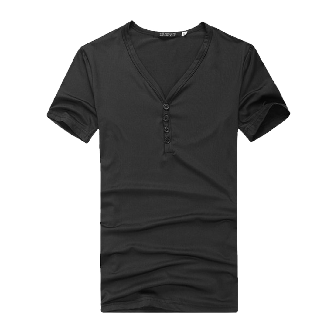 Mens Black V Neck Buttons Top Short Sleeve Stretch Casual Tee Shirt M