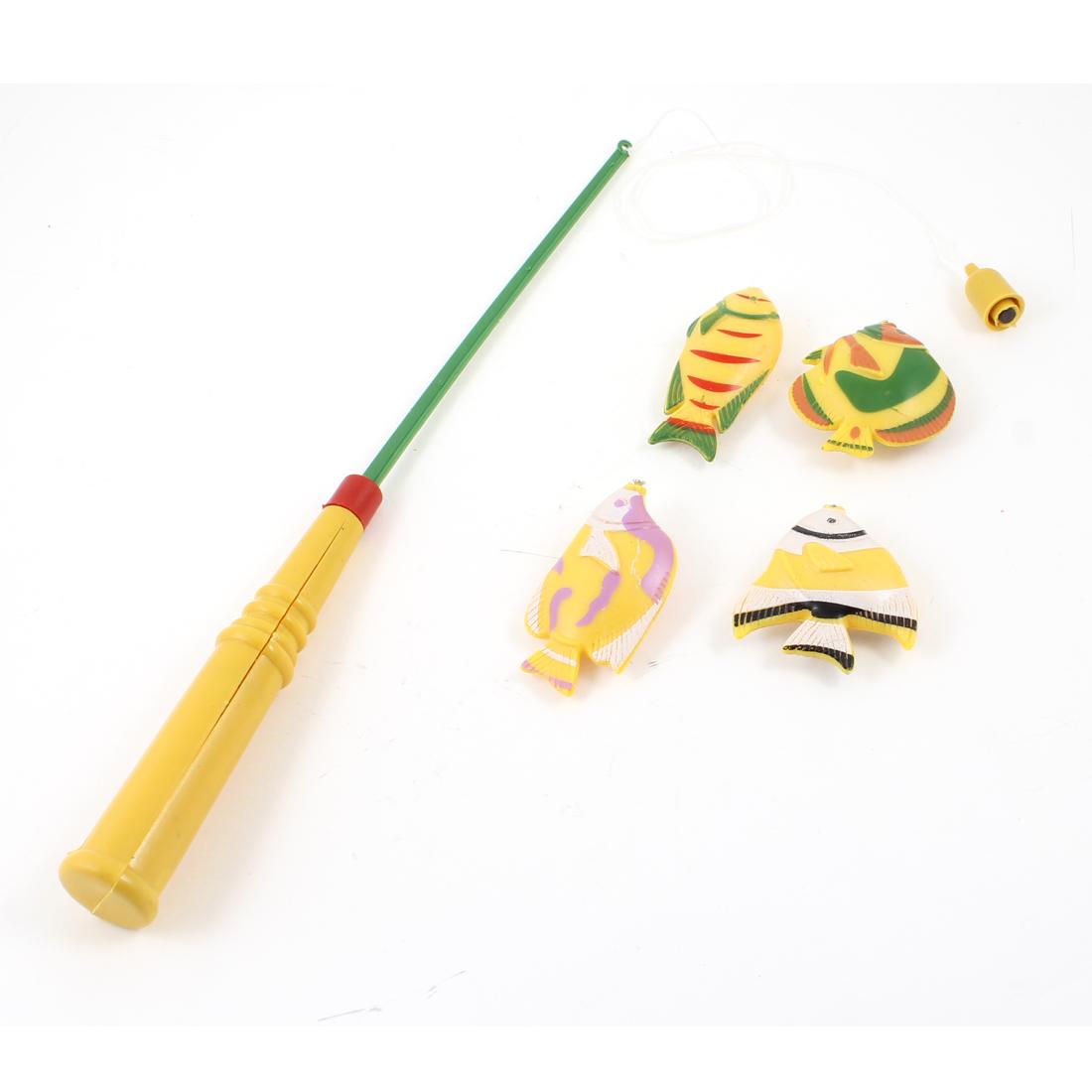 Child Kids Yellow 4 Fishes Telescoping Fish Rod Plastic Fishing Toy Set