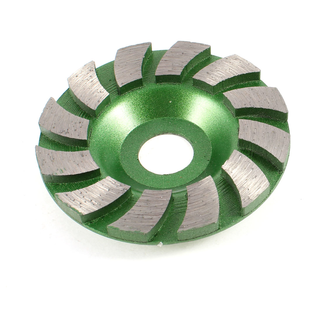 "12 Segments 2cm Mount Hole 3.5"" Diameter Green Turbo Cup Wheel"