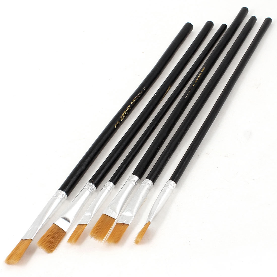 Black Plastic Long Handle Nylon Hair Paint Brush 6 Pcs