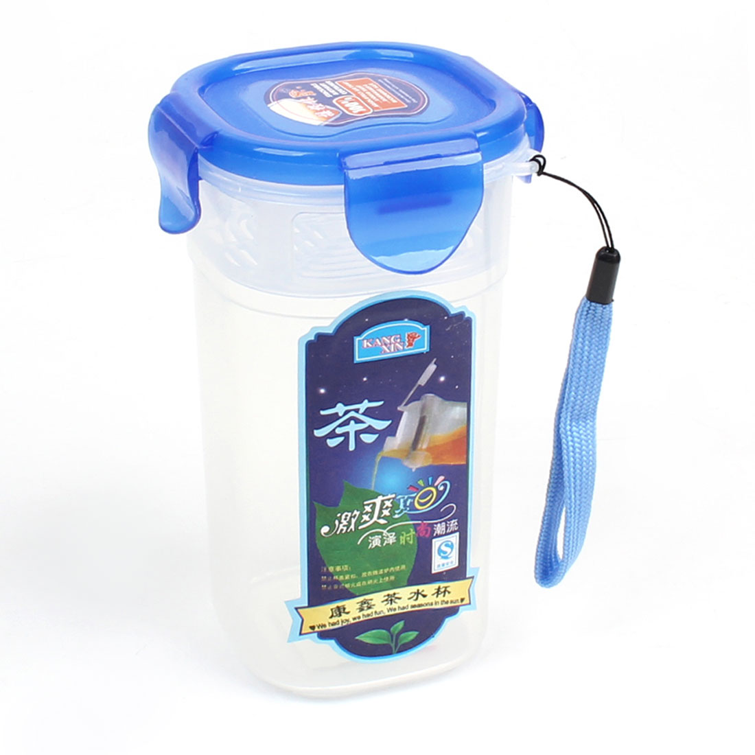 """470ml Capacity Strainer Interior Water Bottle Cup Container Blue Clear White 5.3"""" Height"""