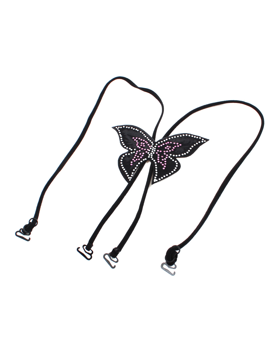 Rhinestone Decor Black Butterfly Cross Back Style Adjustable Bra Shoulder Strap