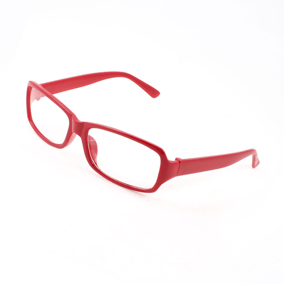 Lady Plastic Rectangle Red Full Rim Frame Clear Lens Plain Glasses Spectacles